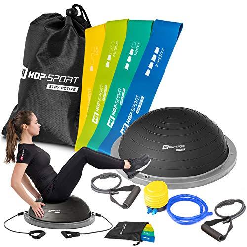 Hop-Sport Fitness-Set Balance Trainer mit Zugbändern Ø 63,5 cm Balance Ball mit Trainingsbändern 500x50mm Wiederstandsbänder 4er Set Gymnastikbänder