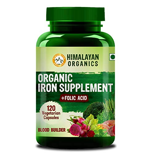 Himalayan Organics Organic Iron Supplement with Folic Acid | Blood Builder | Whole Food | 120 Veg Capsules
