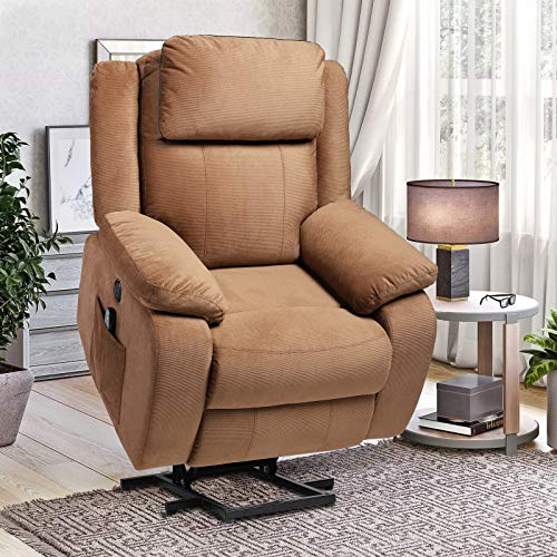 TITIMO Power Lift Recliner Chair for Elderly with Massage Heat Ergonomic Lounge Chair Soft Fabric Motorized Vibration Sofa for Living Room with Remote Control USB Port Side Pockets (Light Brown)
