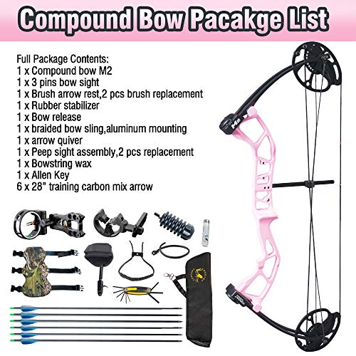 """Product Image 1: TOPOINT ARCHERY M2 Junior Compound Bow Set Beginners,Youth&Kids Bow Women Bow 17""""-27″ Draw Length,10-40Lbs Draw Weight,290fps IBO, Limbs Made in USA,Bow Only 2.54lbs,Lightweight Design (Black)"""