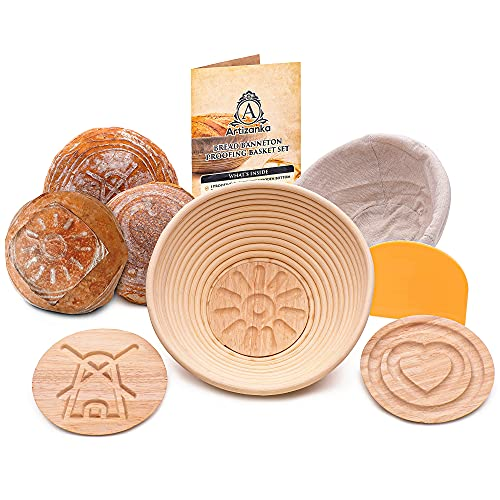 9 in Bread Proofing Basket Set - Make Sourdough Bread with our Banneton Basket and Removable Design...