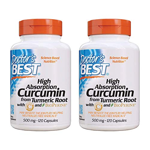Doctor's Best Curcumin From Turmeric Root, Joint Support, 500 Milligram Caps with C3 Complex and BioPerine, 120 Capsules, 2 Packs