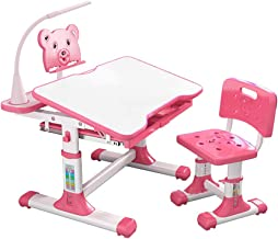 Kids Desk and Chair Set, 27 Inch Children Adjustable Study Desk Chair for School and Home Bedroom with Drawer Bookstand St...