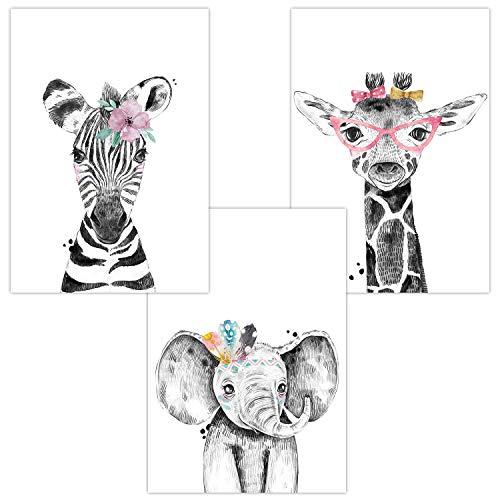 Wandbilder 3er Set für Babyzimmer Deko Poster | Dekoration Kinderzimmer | Kunstdruck DIN A4 für Safari Tiere für Mädchen (Zebra Elefant Giraffe Brille)