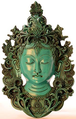 BUDDHAFIGUREN Buddha-Statue Tara Türkis aus Resin (Gießharz) 30 cm Maske