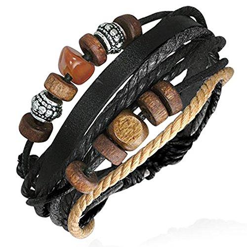 Zense ZB0106-C - Pulsera para hombre de piel ajustable, moderna, madera y acero, negro, gris, marrón y beige, símbolo de Karma