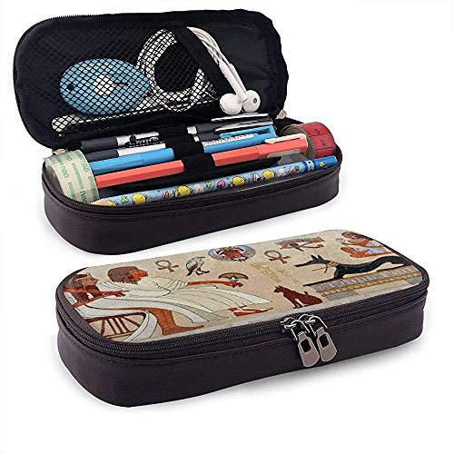 Ancient Hieroglyph Egyptian Culture PU Leather Pencil Pen Bag Pouch Case Holder School Office Coin Purse Cosmetic Bag