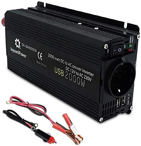 JQZ Car Inverter Inverter, 2000W 12V bis 220V AC Sinus Auto Caravan Auto Netzteil for Notebook, iPad, Smartphones, iPhone, Camping Versorgung mit 2 USB Car Inverter