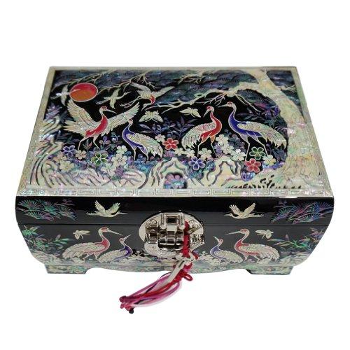 Mère de Pearl Arbre Oiseaux Pin Noir Design en Bois laqué Miroir Serrure Clé Bijoux Boîte à bijoux Keepsake Boîte à trésors Étui organiseur poitrine