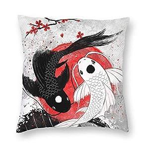 FARRELL Funda de Almohada Cuadrada Yin-Yang, Funda de Almohada Decorativa con Peces japoneses, Protectores, Funda de cojín para sofá, Dormitorio, Coche, Boda