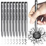 Fineliner Micro Pens Black Markers: Ink Art Pens for Artists Manga Outlining Sketching Drawing Coloring Doodling Writing Illustration Book- Waterproof Multiliner Marker Pen Drawing Pens Set of 9