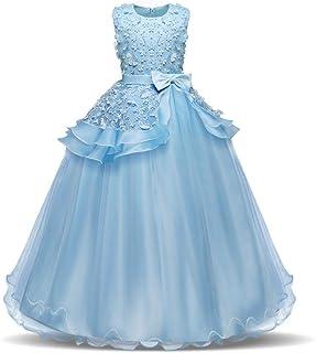 YLQ 子供のパーティーボールガウンのウェディングブライドメイドのドレスの女の子ノースリーブの刺繍の花の王女のページェントドレス蝶ネクタイサッシチュチュ誕生日パーティーマキシドレス (色 : 青, サイズ : 170)