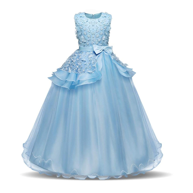 LYQ 子供のパーティーボールガウンのウェディングブライドメイドのドレスの女の子ノースリーブの刺繍の花の王女のページェントドレス蝶ネクタイサッシチュチュ誕生日パーティーマキシドレス (色 : 青, サイズ : 160)