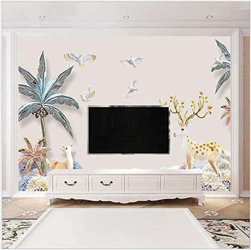 Behang Zelfklevende Canvas Muurschilderingen Fotobehang 3D Modern Huis Decor Kokosnoot Boom en Herten 250cm(W) x175cm(H)-5 Stripes