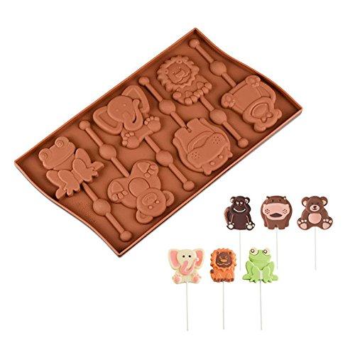 6cavidad con forma de animales Lollipop Mold rana mono silicona Chocolate moldes decoración de pasteles herramientas