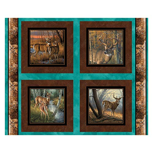 Wild Wings Field Day Deer 36'' Pillow Panel Brown Quilt Fabric