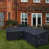 ガーデンラタンコーナー家具カバーL字型家具カバー防水アンチUV防塵L字型ソファダイニングセットカバー家庭用屋外家具-300X300X98cm