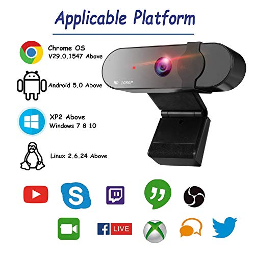 GeekerChip Webcam 1080P Full HD,USB Webcam con Webcam Cover Micrófono Reductor de Ruido y Corrección de iluminación Automática,para PC,Mac,Windows,Portátil,para Twitch Xbox One miniatura