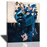African American Wall Art, Black Woman Queen Picture Wall Decor Fashion Portrait Posters Canvas Painting Abstract Graffiti Prints Artwork Home Decor Framed for Living Room Bedroom Bathroom 12x16inch