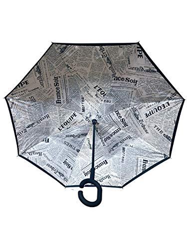 Innovativer Regenschirm, Umgekehrter Regenschirm, Reverse Umbrella, Inverted Umbrella, Geschenk (Zeitung)
