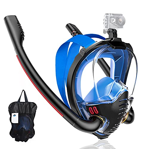 Maoyea Full Face Snorkel Mask,Snorkeling Gear for Adults Youth Kids,Dry Top Breathing System Double-Tube Set with Camera Mount,Anti-Leak Swimming Mask for Women and Men,Dive Mask with Anti-Fog Wipes