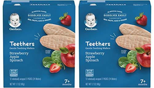Gerber Teethers Gentle Teething Wafers, Strawberry Apple Spinach, 1.7 OZ Box (Pack of 2)