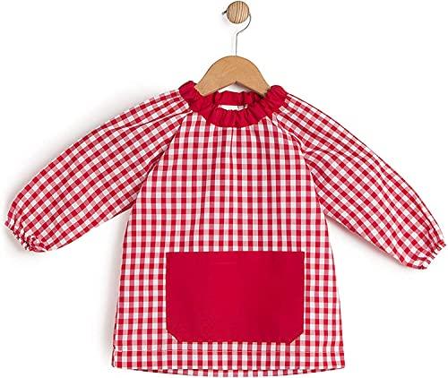 HOMYBABY® Babi escolar infantil para guarderia y colegio - Bata escolar para niño o niña - Baby escolar (Rojo, 3)