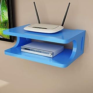 LSLS Escuadra De Pared De TV Box Set-Top Box Dispositivo De Módem De Cable For Router WiFi DVD Streaming estantería de Pared (Color : Blue)