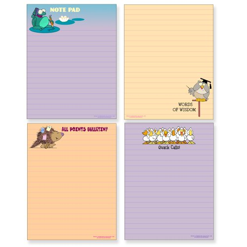 Four Funny Notepad Assorted Pack - Great Gift Set - 4.25 x 5.5in - 50 Sheets Per Pad