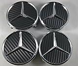 4 tapas para llantas de aleación de Mercedes, color negro, tamaño de 75 mm, de eMarkooz