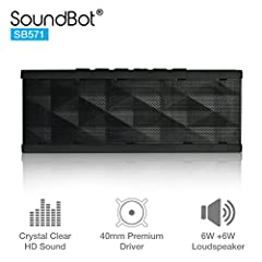 Crystal clear deep bass 6W + 6W HD loud speakers with 40mm premium drivers for both active outdoor and indoor use Built-in 3.5mm audio line in and 2000mAh rechargeable battery allow SB571 to connect to media devices WITH OR WITHOUT Bluetooth capabili...