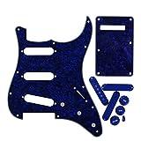 Fleor SSS Guitare de style Pickguar Pickguard plaque arrière avec boutons de contrôle de 2t1V 50mm 52mm (2pcs) Housse de Pickup pour Fender Stratocaster Guitare électrique 4 ply, Blue Pearl