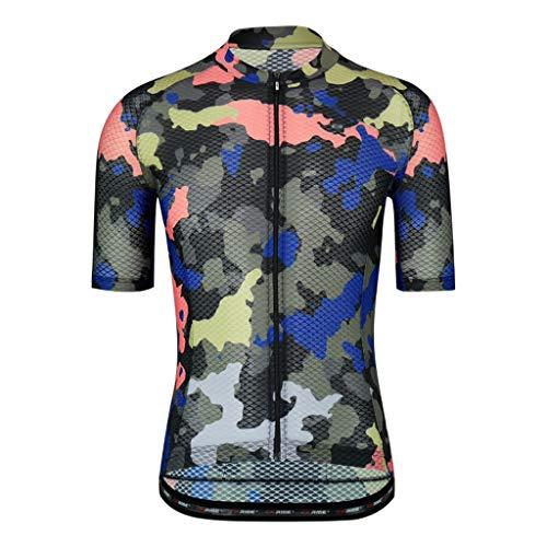 Traje de esquí al aire libre Camo ciclismo Jersey de los hombres de ciclo jerseys Tops Bicicleta de camisas chaqueta de manga corta ropa de la bici completa de la cremallera de la bicicleta con los bo