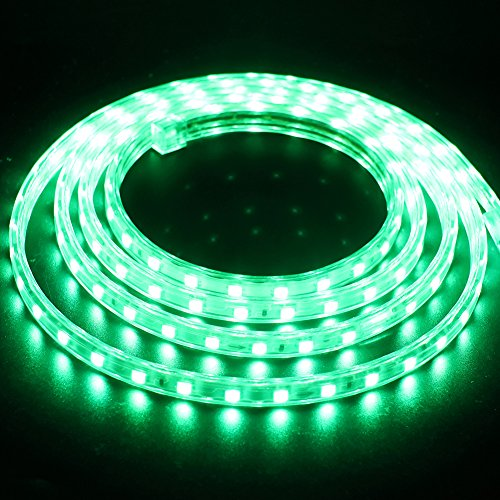 XUNATA 3m Tiras LED Verde, 220V SMD 5050 60LEDs/m, IP67 Impermeable, Escalera de Techo Tira de LED Cocina Cable Luces Flexible LED Strip Light Decoración