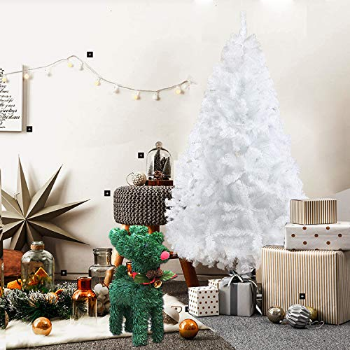 Dporticus 6FT Premium Spruce Artificial Christmas Tree w/Metal Stand,White