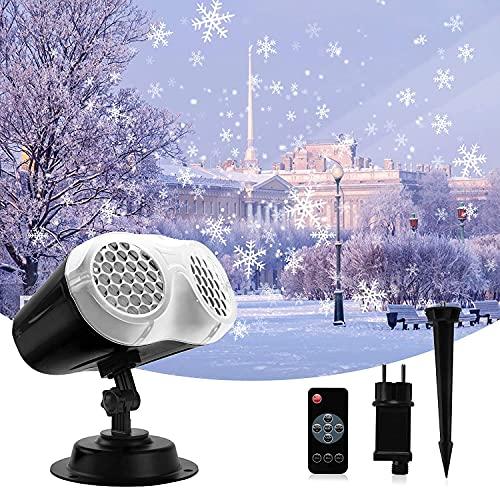 Sundom Proiettore Luci Natale LED, Proiettore LED Snowflake Lights, 14V 9W Bianco Rotante Fiocco Neve LED Lampada Proiettore con Telecomando Temporizzazione 2H 4H 6H per Xmas Halloween Holiday Party