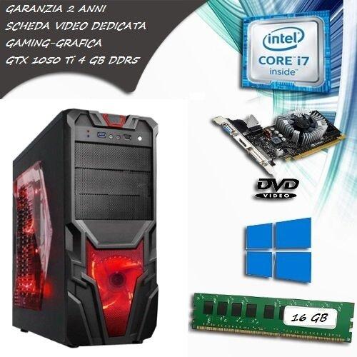 PC FISSO COMPUTER DESKTOP INTEL CORE i7 - SCHEDA VIDEO GTX 1650 4 GB GDDR5 - RAM 16 GB - SSD 120 HDD 1TB - LICENZA ORIGINALE MICROSOFT WINDOWS 10 PRO - PERFETTO PER FORTNITE E GRAFICA