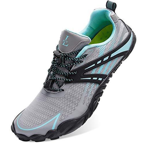 L-RUN Womens Water Hiking Shoes Lightweight Sports Shoes Grey Women_6, Men_4.5 M US