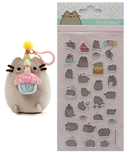 Gund Pusheen B-day Cupcake Clip 5' Plush with Super Puffy Stickers