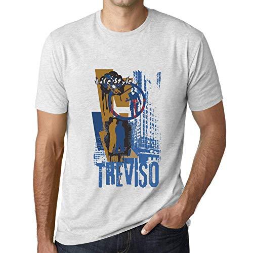 One in the City Hombre Camiseta Vintage T-Shirt Gráfico Treviso Lifestyle Blanco Moteado