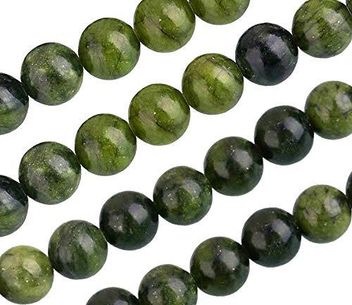 Natürliche Edelstein Perlen Taiwan Jade Mattiert Gefrostet und Poliert Rund 4mm 6mm 8mm 10mm Grün Set Lose Schmuckstein Schmuckperlen Schmuckdesign Bastelzubehör Perlenkette (8mm, 15 Stück Poliert)