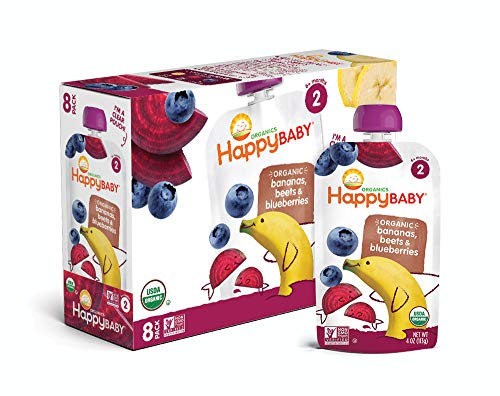 Happy Baby Organic Stage 2 Baby Food, Simple Combos, Bananas, Beets & Blueberries, 4 Ounce (Pack of 16)