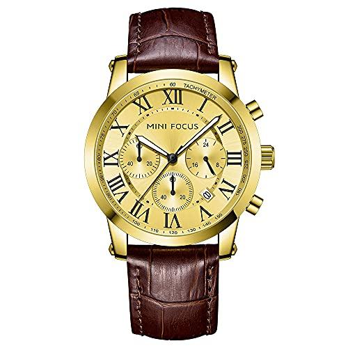 JTTM Reloj Cronógrafo para Hombre Movimiento De Cuarzo Fashion Business Sports Watch 30M Impermeable Regalo del Día del Padre,Oro