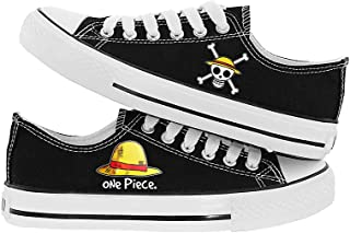 JPTYJ One Piece Monkey·D·Luffy Hommes Espadrilles Anime à Lacets Toile Baskets Chaussures Cosplay Bottines pour Hommes Femmes