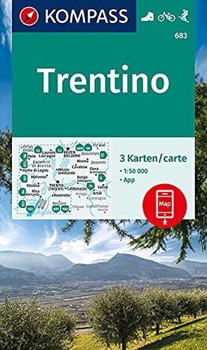 KOMPASS Wanderkarte Trentino: 3 Wanderkarten 1:50000 im Set inklusive Karte zur offline Verwendung in der KOMPASS-App. Fahrradfahren. Skitouren. Reiten. (KOMPASS-Wanderkarten, Band 683)