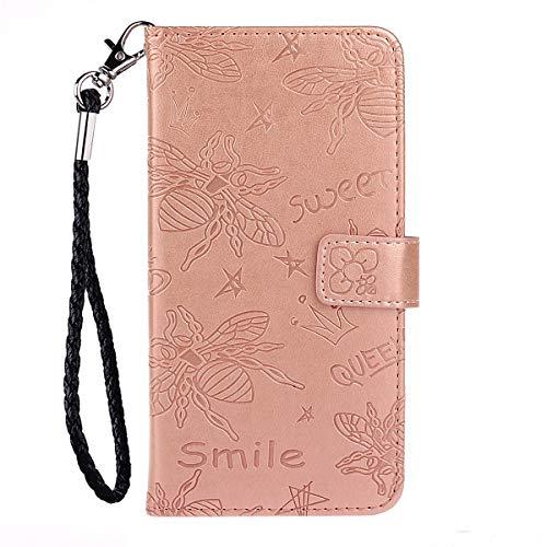 Blllue Funda tipo cartera compatible con iPhone XS, diseño de abeja 3D de piel sintética para iPhone XS, color rosa
