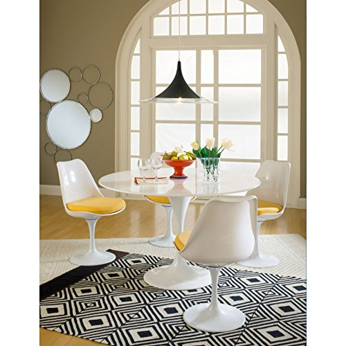 Modway Lippa Mid-Century Modern Upholstered Fabric Swivel Kitchen and Dining Room Chair in Yellow