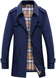 Mens Coat Mid-Length Single Breasted Trench Coat Lightweight Jackets Fleece Lined Winter Casual Jacket Spring Autumn Slim ...