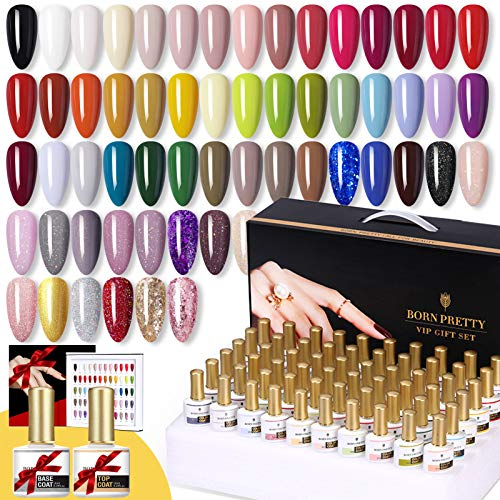 BORN PRETTY UV Gel Nagellack Set 60 Bottles Nagelstudio Sets Solid Color And Glitter Sequins Nail...