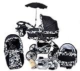 Twing - Sistema de viaje 3 en 1, silla de paseo, carrito con capazo y silla de coche, RUEDAS GIRATORIAS y accesorios (Sistema de viaje 3 en 1, negro, flores blancas)